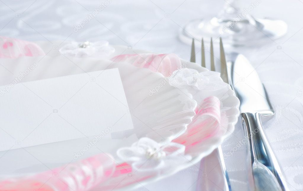 Table setting for romantic dinner or wedding — Stockfoto #5821163