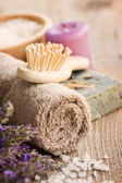 Spa with lavender and towel — Stock Photo