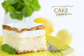 Vanilla and custard cream cake desser — Stock Photo