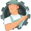 Vector handyman character with tools — Stockvektor