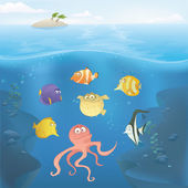 Vector Ocean underwater illustration. — Stock Vector