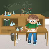 Vector illustration of a young boy studying chemistry — Stock Vector