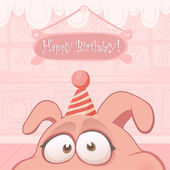 Animal cards series. Vector birthday card with funny pig — Stock Vector