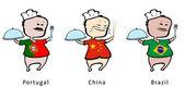 Chef-kok van restaurant van portugal, china, brazilië - vectorillustratie — Stockvector