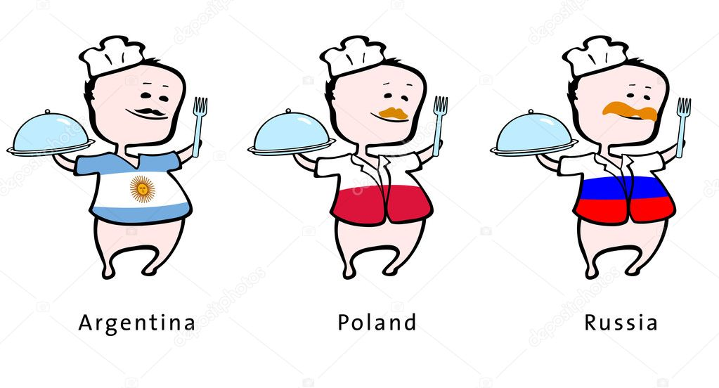 Chef of restaurant from Argentina, Poland, Russia - vector illustration - An Argentinian chef, a Polish chef, a Russian chef — Stock Vector #6464619