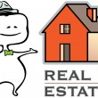 Real estate - a real estate agent and a house - vector illustration — Stockvectorbeeld