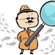 Detective or private investigator with a magnifying glass and footprints — 图库矢量图片