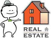 Real estate - a real estate agent and a house - vector illustration — Vetorial Stock