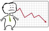 Trader malheureux et un graphique de la goutte avec une flèche rouge tombant - vector — Vecteur