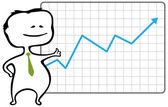 Happy trader and a chart with a rising blue arrow - vector illustration — Vecteur