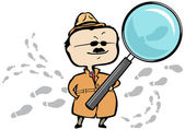 Detective or private investigator with a magnifying glass and footprints — Stock vektor