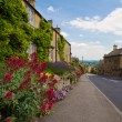 cotswolds village bourton-on-the-hill with flowers, uk — Stock Photo