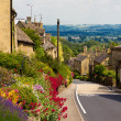 Cotswolds village Bourton-on-the-Hill with flowers, UK - Stockfoto