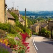 Cotswolds village Bourton-on-the-Hill with flowers, UK - Стоковая фотография