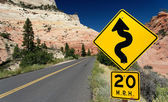 Winding Road (Traffic Sign) in Zion National Park, USA — Stok fotoğraf