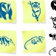 Animal drawings on post - Stock Vector
