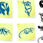Animal drawings on post — Stock Vector