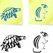 Turtle and chipmonk drawings on post it notes — Stock Vector