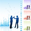 Royalty-Free Stock Vector Image: Business team high five on business chart background