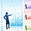 Royalty-Free Stock Vector Image: Business woman on background with financial charts