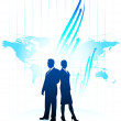 Businessman and businesswoman on world map background — Stock Vector