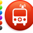 Ambulance icon on round internet button — 图库矢量图片