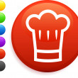 Royalty-Free Stock Vector Image: Chef hat icon on round internet button