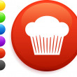 Muffin icon on round internet button — Stock Vector #6029191
