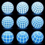 Globe wire frame symbols — Stock Vector #6029228