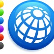 Globe icon on round internet button — Imagen vectorial