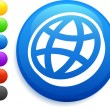 Flat globe icon on round internet button — Stockvektor