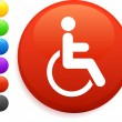 Wheelchair icon on round internet button — Stock Vector