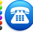 Telephone icon on round internet button — Imagen vectorial