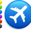 Plane icon on round internet button - Stock Vector