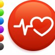 Heart rate icon on round internet button - Stock Vector