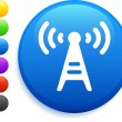 Radio tower icon on round internet button — Stock Vector