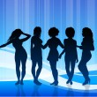 Royalty-Free Stock Vectorafbeeldingen: Sexy Young Women on Blue Abstract Background