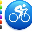 Cyclist icon on round internet button — Stock Vector