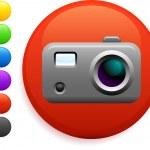 Digital camera icon on round internet button — Stock Vector #6029464