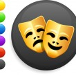 ������, ������: Tragedy and comedy masks icon on round internet button