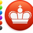 Royal crown icon on round internet button — Stock Vector