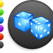 Royalty-Free Stock Vector Image: Dice icon on round internet button