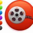 Stock Vector: Film reel icon on round internet button