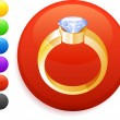 Engagement ring icon on round internet button — Stock Vector