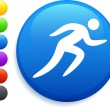 Running icon on round internet button — Stock Vector