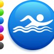 Swimming icon on round internet button — Stock Vector