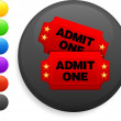Movie tickets icon on round internet button - Stock Vector
