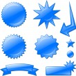 Blue star burst designs — Stock Vector