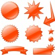 Red star burst designs — Stock Vector