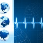 glober på blå internet bakgrund med puls — Stockvektor